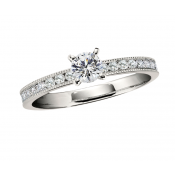 Andrew Meyer 0.96ct. Channel-Set Diamond Engagement Ring with Milgrain Detail (center stones not included)